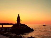 Denna är solnedgången från stranden arkivfoton