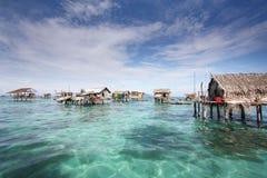 Denna Cygańska wioska Semporna Sabah Malezja Zdjęcia Royalty Free