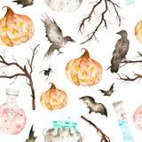 Denna inklusive magiska kittel halloween för den sömlösa modellen, dryck buteljerar, slagträn, ravens, spindeln, filialer och gal stock illustrationer