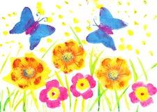 Denna konstverkfjärilsbatik Blommor för barnteckningsvattenfärg, Royaltyfria Bilder