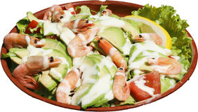 Denna sałatka z garnelami, szpikiem kostnym i świeżymi warzywami, Obraz Stock
