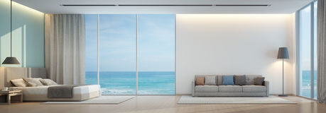 Denna widok sypialnia i żywy pokój w luksusowym plażowym domu Zdjęcie Royalty Free
