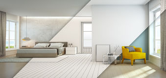 Denna widok sypialnia i żywy pokój w luksusowym plażowym domu, Nowożytny wnętrze urlopowy dom Fotografia Stock