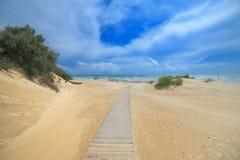 Denne piasek diuny z ścieżką wyrzucać na brzeg Anapa Rosja Fotografia Royalty Free