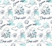 Dennego życia ręka rysujący wzór z ośmiornicą na bielu ilustracja wektor