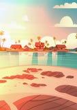 Dennego brzeg plaża Z willa zmierzchu nadmorski krajobrazu wakacje Hotelowym Pięknym pojęciem ilustracji