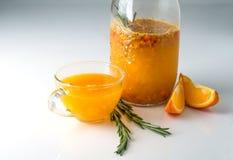 Dennego buckthorn napój z pomarańcze i rozmarynami Obrazy Royalty Free