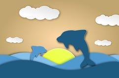 Dennego delfinu origami papieru nadmorski rżnięty błękitny tło Podwodna jamy i oceanu istot karta ilustracja wektor