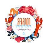 Dennego jedzenia etykietka z tuńczykiem, łosoś, milczkowie, krab, homar i w ten sposób Wektorowa ilustracja, odizolowywająca na b ilustracja wektor