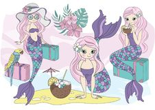 Dennego oceanu Tropikalnego lata syrenki Wektorowy Kolorowy Ilustracyjny wakacje ilustracja wektor