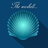 Dennego przegrzebka seashell błękita ikona wektor Obrazy Stock