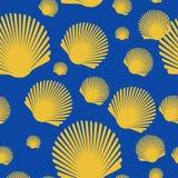 Dennego przegrzebka seashell semless wzór wektor Fotografia Royalty Free
