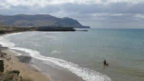 Dennego wybrzeża Rodzinny kąpanie Statek na mieliźnie Kamera w ruchu zdjęcie wideo