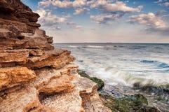 Dennego wybrzeża wschód słońca w Chabanka Odesa Ukraina obraz royalty free