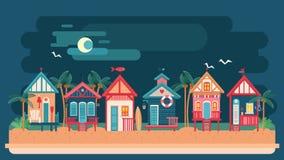 Dennej strony nocy krajobraz z plażowym domem Zdjęcie Stock