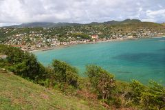 Dennery Bay in Saint Lucia. The town of Dennery on the Caribbean island of Saint Lucia Stock Photography