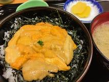Denni †‹â€ ‹czesaka jajka na ryżowej białej mizo polewce i Kiszonej rzodkwi Obrazy Royalty Free