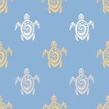 Denni żółwie wektor bezszwowy wzoru Zdjęcia Royalty Free