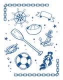 Denni i nautyczni symbole royalty ilustracja