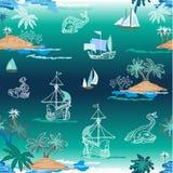 Denni potwory w błękitnej lagunie royalty ilustracja