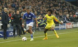 Dennis Aogo and William FC Schalke v FC Chelsea 8eme Final Champion League Royalty Free Stock Photos