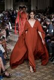 Dennis Basso Spring/Summer 2018. New York, NY, USA - September 11, 2017: Models walk runway for the Dennis Basso Spring/Summer 2018 runway show during New York Stock Images