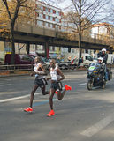 Dennis Kimetto (with Geoffrey Mutai)  running world record at Berlin Marathon 2014 Royalty Free Stock Photography