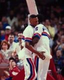 Dennis Rodman and Orlando Woolridge, Detroit Pistons. Stock Photo
