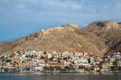 Denny boczny widok Pothia miasta zatoka na grku Kalymnos Fotografia Stock