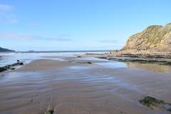 Denny głąbik opustoszała plaża gdy przypływ długiego wychodzącego nie ilustracji