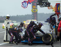 Denny Hamlin comes in for a pit stop Stock Images