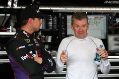 Denny Hamlin and Jeff Burton Stock Photo