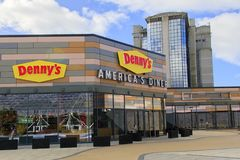Denny`s American Diner. Swansea, UK: March 08, 2018: The first Denny`s American Diner to open in the UK was in Swansea in 2017 creating 70 jobs. Denny`s was one Stock Image