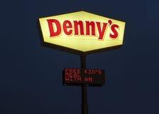 Denny's Logo illuminated at night Stock Image