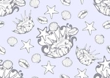 Denny Shell wzór, lato tkanina ilustracja wektor
