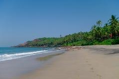 Denny widok od chowanej plaży z palmami blisko Agonda plaży, Goa sta Fotografia Royalty Free