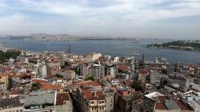 Denny widok w Istanbuł, wiele statki, domy, piękny niebo wektor wizerunku miasta architektury Pi?kny timelapse zbiory wideo