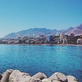 Denny widok z plażą w Malaga, Hiszpania Fotografia Stock