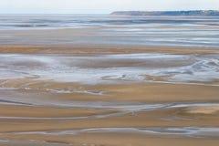 Denny wybrzeże przy niskim przypływem, świętego Michael ` s, Francja Fotografia Royalty Free