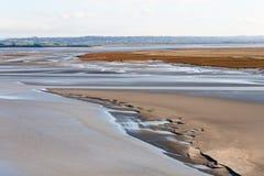 Denny wybrzeże przy niskim przypływem, świętego Michael ` s, Francja Fotografia Stock