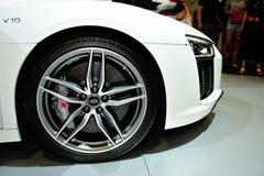 Dennya Audi A4 skärmen under Singapore Motorshow 2016 Arkivbild