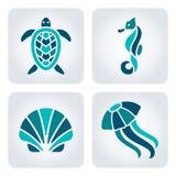 Dennych zwierząt mozaiki ikony Fotografia Stock
