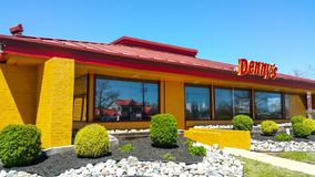 Dennys Restaurant and American Diner in the United States - PHILADELPHIA / PENNSYLVANIA - APRIL 8, 2017. Dennys Restaurant and American Diner in the United Royalty Free Stock Photos