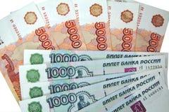 Denominações de 1000 e 5000 rublos Foto de Stock Royalty Free