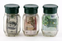 Denominações em uns frascos Imagens de Stock