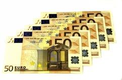 Denominaciones de 50 euros Fotos de archivo