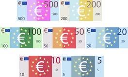 Denominaciones de papel euro de imitación de los billetes de banco (vector) libre illustration