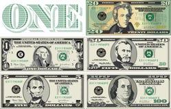 Denominaciones del dinero en circulación Imagen de archivo