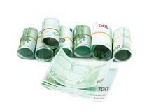 Denominaciones, 100 rollos de los euros Aislante en blanco Imagen de archivo libre de regalías