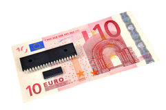 The denomination 10 euros and electronic circuits. Stock Images